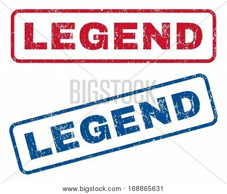 Legend text rubber seal stamp watermarks. Vector style is blue and red ink caption inside rounded rectangular shape. Grunge design and scratched texture. Blue and red signs.