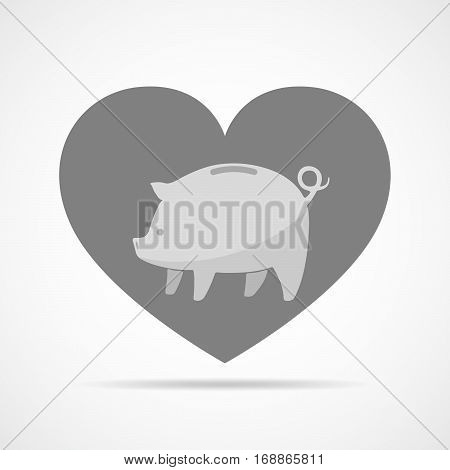 Piggy bank against the background of a heart. Gray piggy bank in flat design. Vector illustration.