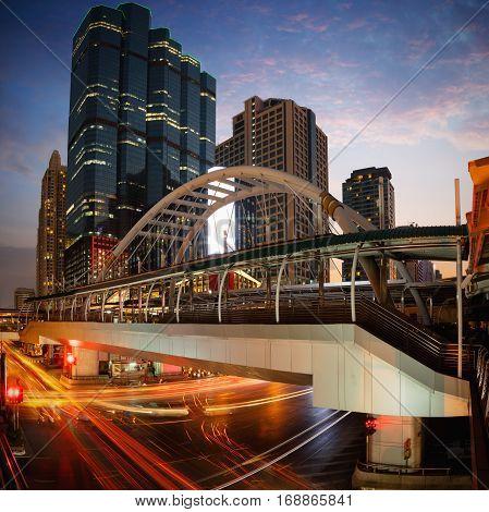 Bangkok business center District Chong Nonsi skywalk for transit between sky train Bangkok Thailand