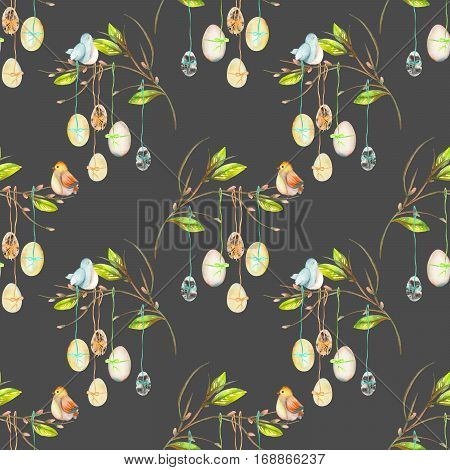 Seamless pattern with Easter eggs on the spring tree branches, hand drawn isolated on a dark background