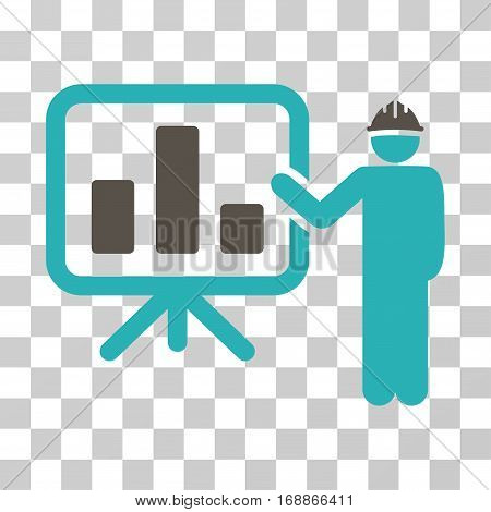 Engineer Pointing Chart Board icon. Vector illustration style is flat iconic bicolor symbol grey and cyan colors transparent background. Designed for web and software interfaces.