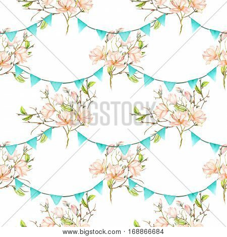 Seamless pattern with garlands of the blue flags on spring magnolia tree branches, hand drawn on a white background