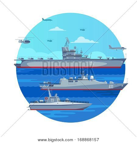 Marine battle fleet concept with aircraft carrier naval boat frigate airplanes and helicopters vector illustration