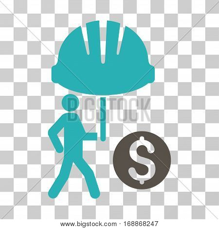 Industrial Financial Coverage icon. Vector illustration style is flat iconic bicolor symbol grey and cyan colors transparent background. Designed for web and software interfaces.