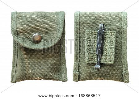 Military  compass green pouch / isolated white