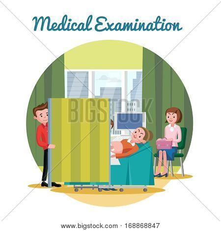 Medical ultrasound diagnostic procedure template with pregnant woman and her husband in hospital vector illustration