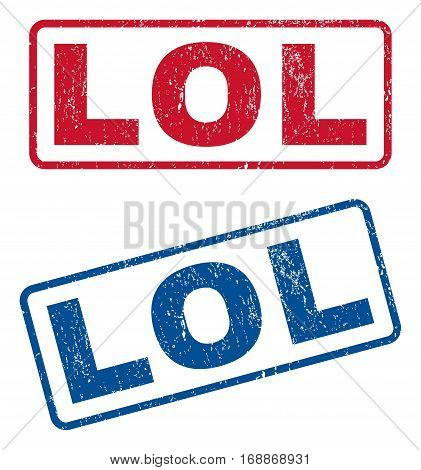Lol text rubber seal stamp watermarks. Vector style is blue and red ink tag inside rounded rectangular banner. Grunge design and scratched texture. Blue and red stickers.
