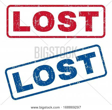Lost text rubber seal stamp watermarks. Vector style is blue and red ink caption inside rounded rectangular banner. Grunge design and unclean texture. Blue and red emblems.