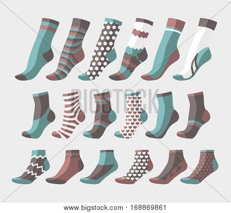 Vector illustration set, collection flat design colorful socks isolated on light background. Textile warm clothes socks pair cute decoration wool winter clothing. Sport season collection.