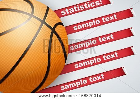 Background of Basketball sports. Infographic of list and schedule of players and statistics. Ball with red ribbon. Vector Illustration.