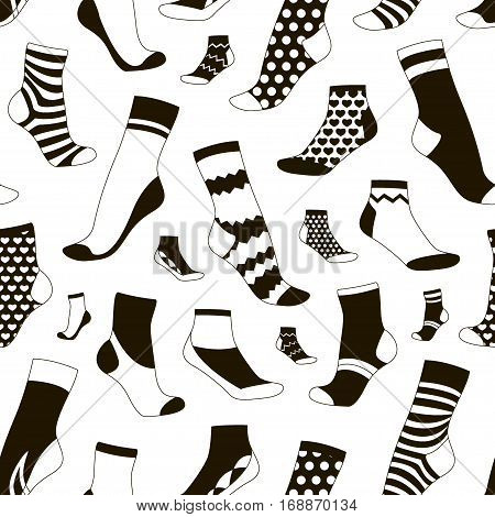 Vector illustration set pattern, collection flat design socks isolated on light background. Textile warm clothes socks pair cute decoration wool winter clothing. Sport season collection.