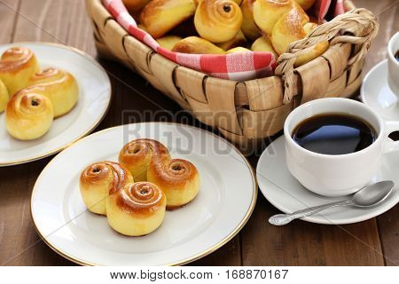 homemade swedish saffron buns, lussekatt in basket