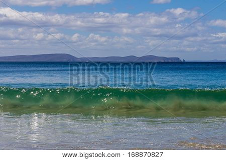 Adventure Bay beach Bruny Island with Cape Raoul in background