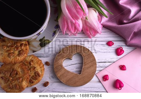 Valentine's Day Elegant Still Life With Tulip Flowers Cup Of Coffe Marshmallow Red Heart Shape Sign