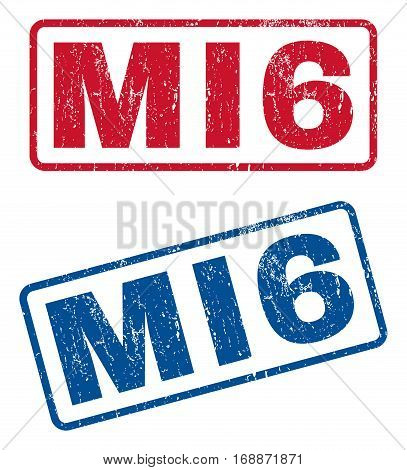 MI6 text rubber seal stamp watermarks. Vector style is blue and red ink tag inside rounded rectangular shape. Grunge design and dust texture. Blue and red stickers.