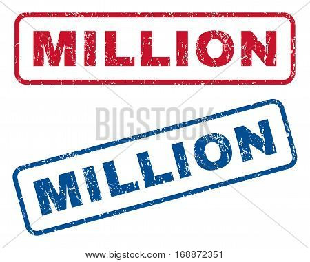 Million text rubber seal stamp watermarks. Vector style is blue and red ink tag inside rounded rectangular shape. Grunge design and dust texture. Blue and red signs.