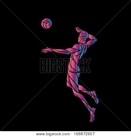 Volleyball player attacking the ball - neon vector silhouette on black background. Modern simple volleyball logo. Eps 8