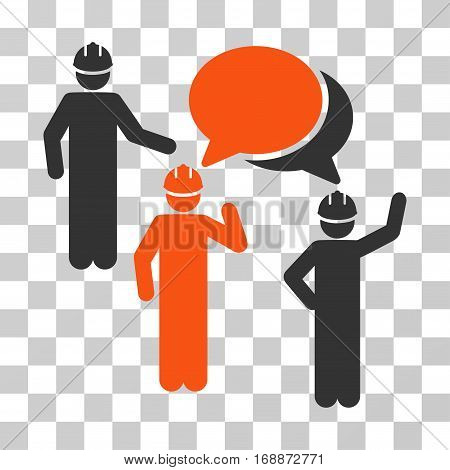 Engineer Persons Forum icon. Vector illustration style is flat iconic bicolor symbol orange and gray colors transparent background. Designed for web and software interfaces.