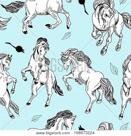 Hand drawn monochrome seamless pattern of horse on blue background. Vector vintage design elements, outline drawing illustration