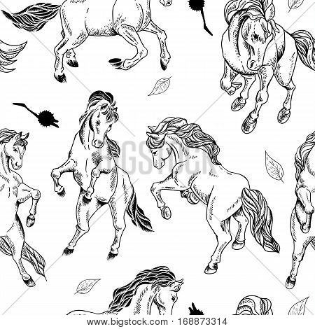 Hand drawn monochrome seamless pattern of horse on white background. Vector vintage design elements, outline drawing illustration