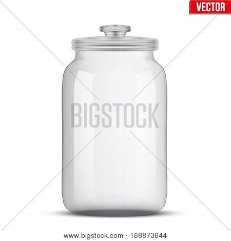 Big Glass Jars for bulk and liquid products with glass cover. Vector Illustration isolated on white background.