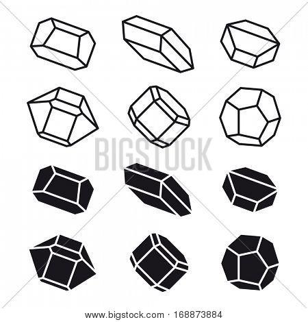 mineral crystal stone black white symbol vector