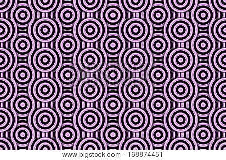 Illustration of several pink and white concentric circles