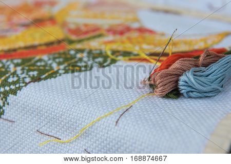 closeup  colorful thread for cross-stitch embroidery .