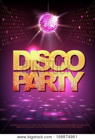 Disco ball background. Disco party poster. Neon