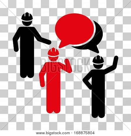 Engineer Persons Forum icon. Vector illustration style is flat iconic bicolor symbol intensive red and black colors transparent background. Designed for web and software interfaces.