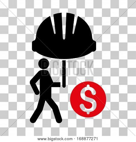 Industrial Financial Coverage icon. Vector illustration style is flat iconic bicolor symbol intensive red and black colors transparent background. Designed for web and software interfaces.