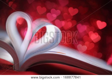 pages of a book curved into a heart shape,Valentines concept