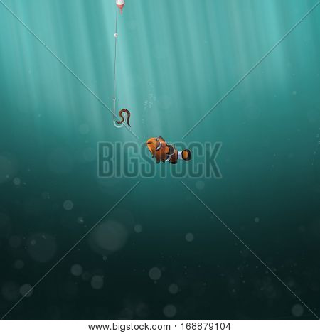 Fish with fishing rod and earthworm on hook on the ocean (3D Rendering)