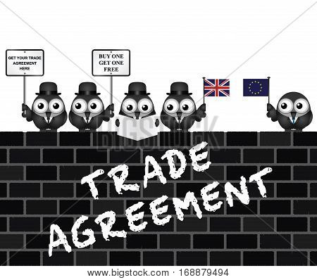 Comical United Kingdom Trade Agreement negotiation delegation following the June 2016 referendum to exit the European Union perched on a brick wall