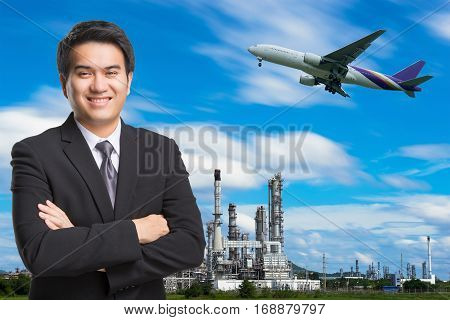 Young Asian Handsome Businessman In Black Suit Smiling