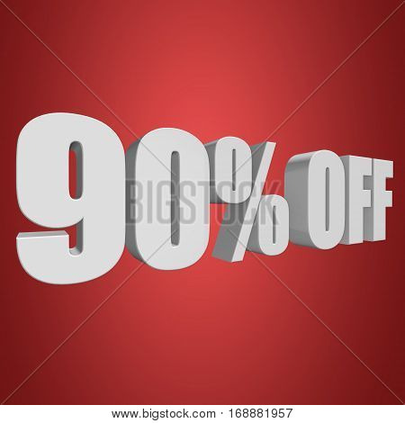 90 percent off letters on red background. 3d render isolated.