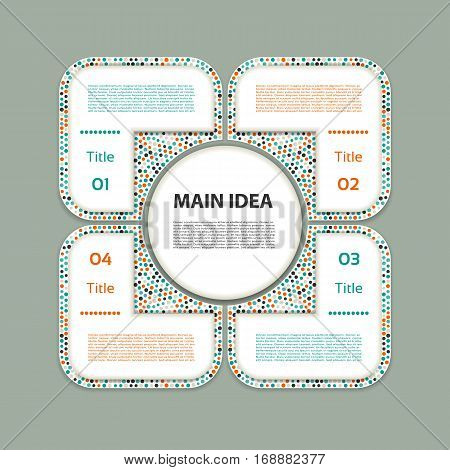 Vector circle infographic. Template for diagram graph presentation and chart. Business concept with four options parts steps or processes. Abstract background.