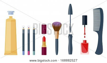 Fashion beautician cosmetic accessories: eyeliner lip pen lipstick eyeshadow mascara brush nail varnish cream tube comb. Flat illustration of cosmetical equipment set. Vector isolated elements.