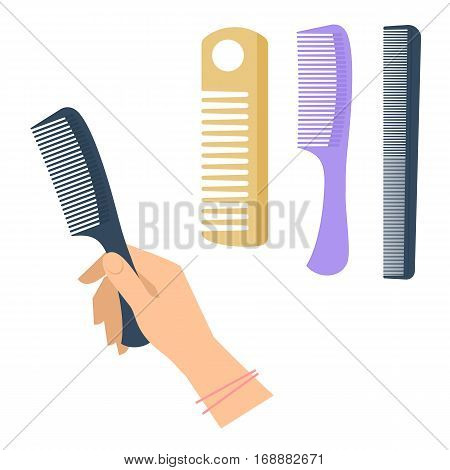 Woman's hand with hairstyle accessory comb set. Flat illustration of female hand holding hairdressing black comb plastic and wood hair equipment. Vector isolated on white background fashion elements.