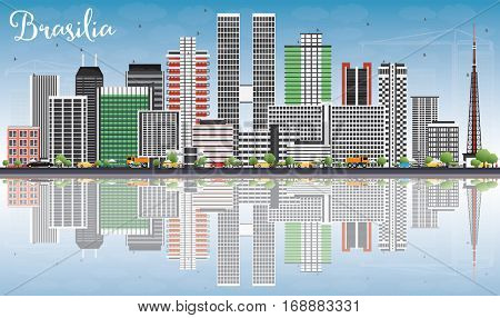 Brasilia Skyline with Gray Buildings, Blue Sky and Reflections. Business Travel and Tourism Concept with Modern Architecture. Image for Presentation Banner Placard and Web Site.
