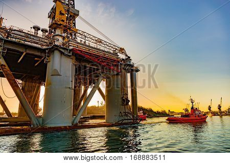 Towing Oil Rig in the Port of Gdansk Poland.