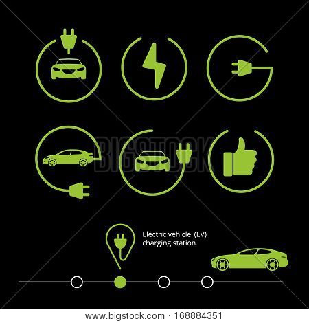 Vector electric vehicle. Electric car icon. Hybrid car
