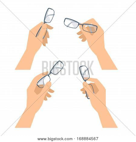 Business man's and woman's hand with glasses set. Flat concept illustration of optical accessories. Isolated on white hands and eyeglasses. Vector spectacles design elements for web presentation.