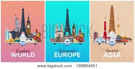Discover Europe, Explore Europe, Travel To Asia. Vacation. Trip To Country. Travelling Illustration.