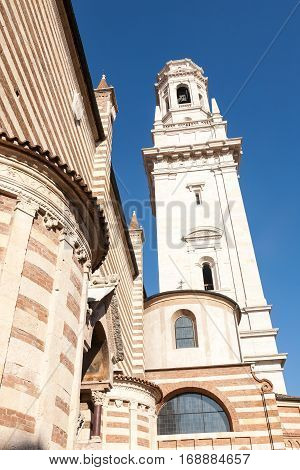 The white bell tower of the cathedral of the town of Verona in the Veneto region of Italy