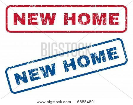 New Home text rubber seal stamp watermarks. Vector style is blue and red ink tag inside rounded rectangular shape. Grunge design and dirty texture. Blue and red stickers.