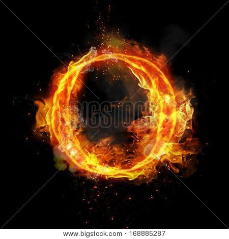 Fire letter O of burning flame. Flaming burn font or bonfire alphabet text with sizzling smoke and fiery or blazing shining heat effect. Incandescent hot red fire glow on black background. poster