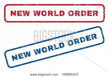 New World Order text rubber seal stamp watermarks. Vector style is blue and red ink caption inside rounded rectangular shape. Grunge design and unclean texture. Blue and red signs.