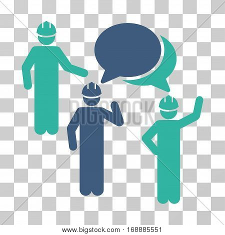 Engineer Persons Forum icon. Vector illustration style is flat iconic bicolor symbol cobalt and cyan colors transparent background. Designed for web and software interfaces.