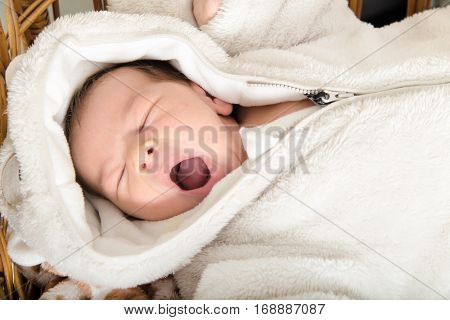 Babe Lies in the Cradle. Image of Child Room with Wooden Crib. Adorable Baby Asleep in His Cradle Sweet Yawning Drowsiness Exhaustion.